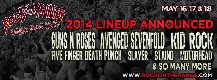 ROCK ON THE RANGE 2014 LINEUP ANNOUNCED