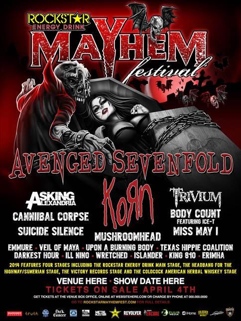 ROCKSTAR ENERGY MAYHEM FESTIVAL 2014 LINEUP ANNOUNCED!