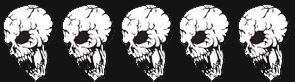 5 skulls - dark backgroun
