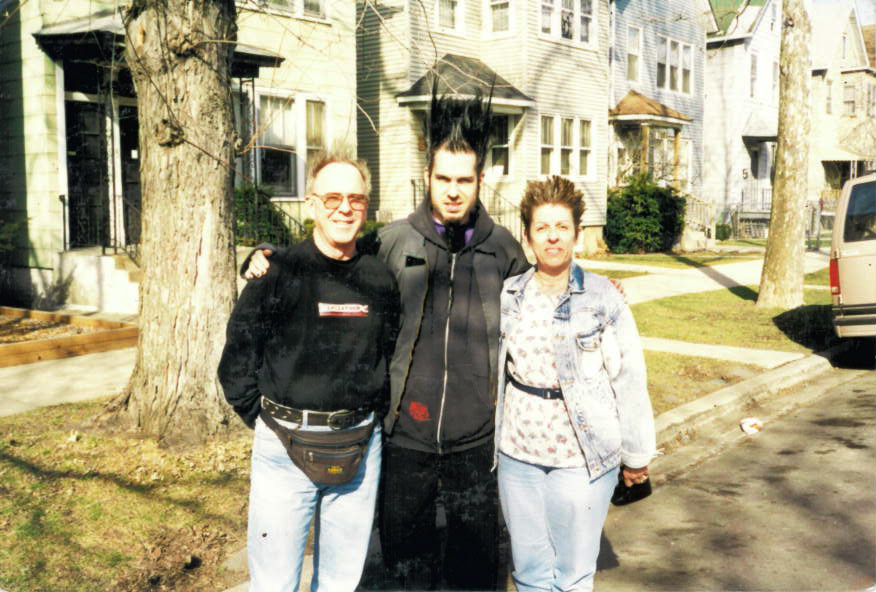 """Wayne with dad Richard and mom Darlene - after he """"Static-fied"""" their hair!"""