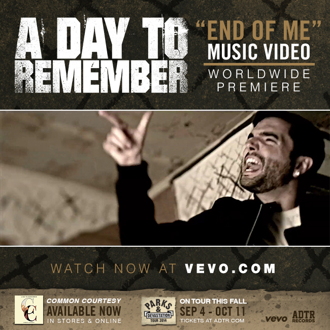 "A DAY TO REMEMBER PREMIERE ""END OF ME"" VIDEO"