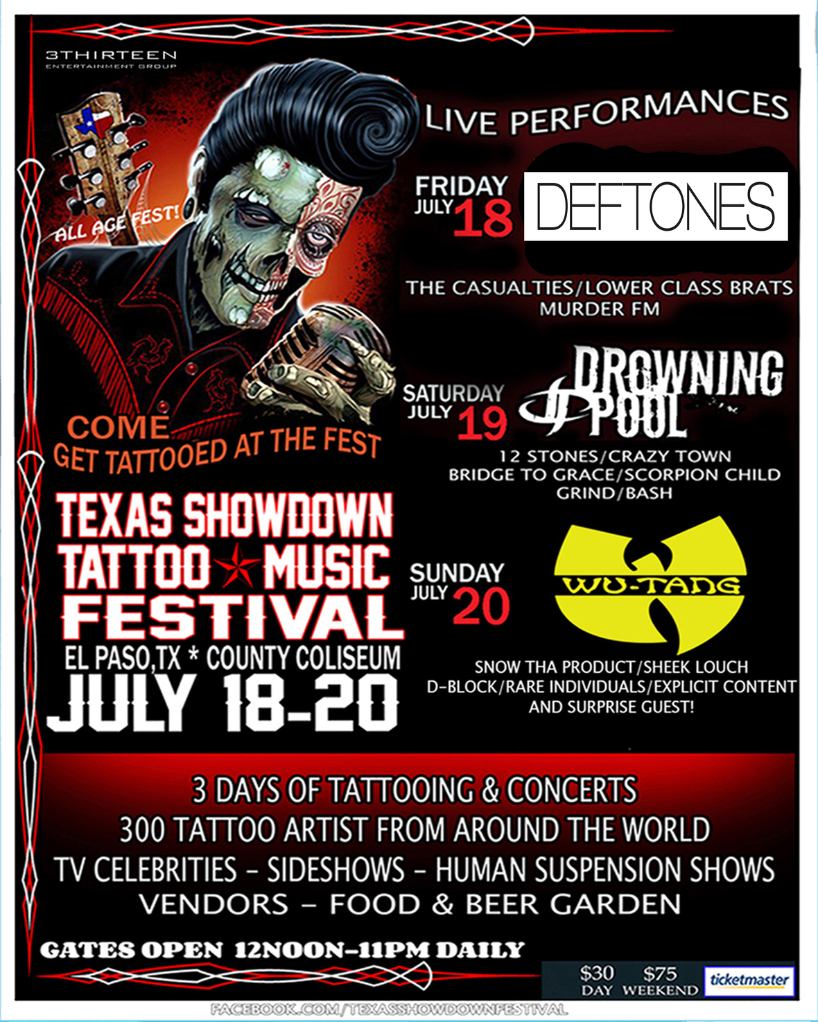 TEXAS SHOWDOWN TATTOO & MUSIC FESTIVAL ANOUNCES 5TH ANNUAL HEADLINERS