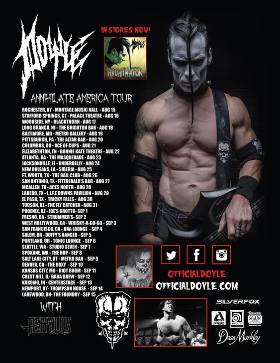 "DOYLE ANNOUNCES ""ANNIHILATE AMERICA TOUR"""