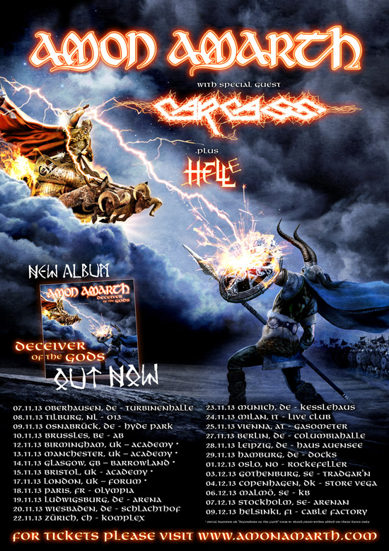 AMON AMARTH EUROPEAN HEADLINE TOUR ANNOUNCED WITH CARCASS!